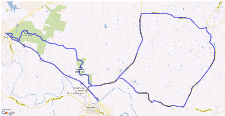 map of Pedal Thru The Pines 2014
