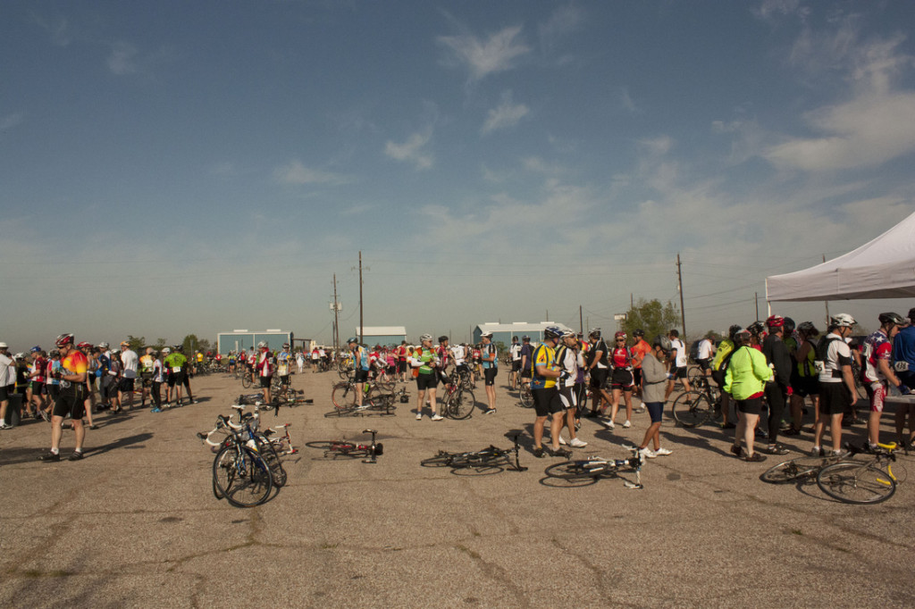 cyclists prepping for the Katy Ram Ride