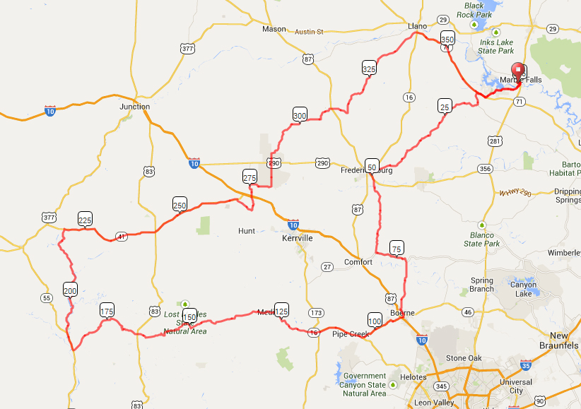 map of RAAM Cycling Challenge 2014