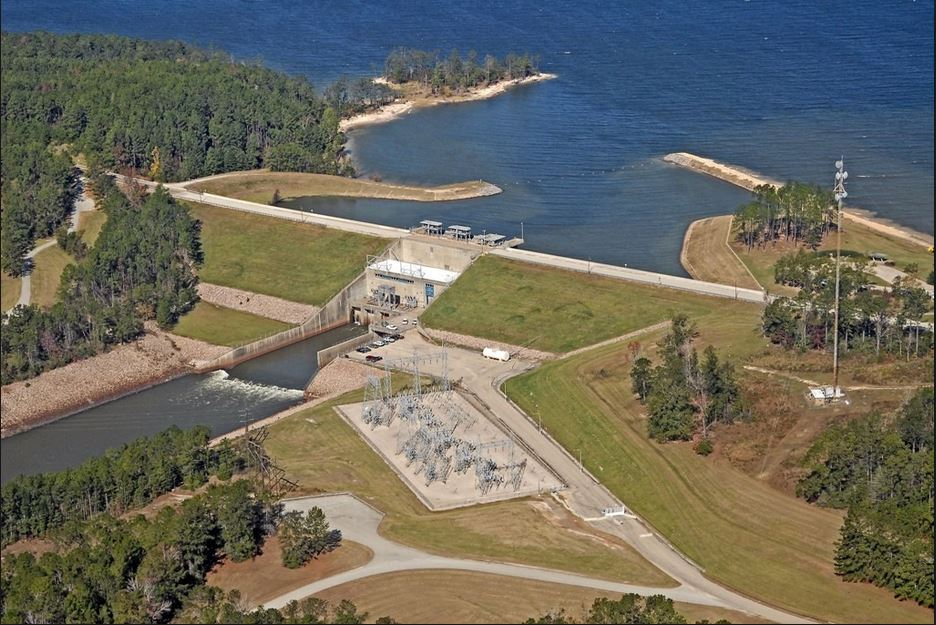 The dam at Lake Sam Rayburn is a pretty sight from the sky and on the ground.