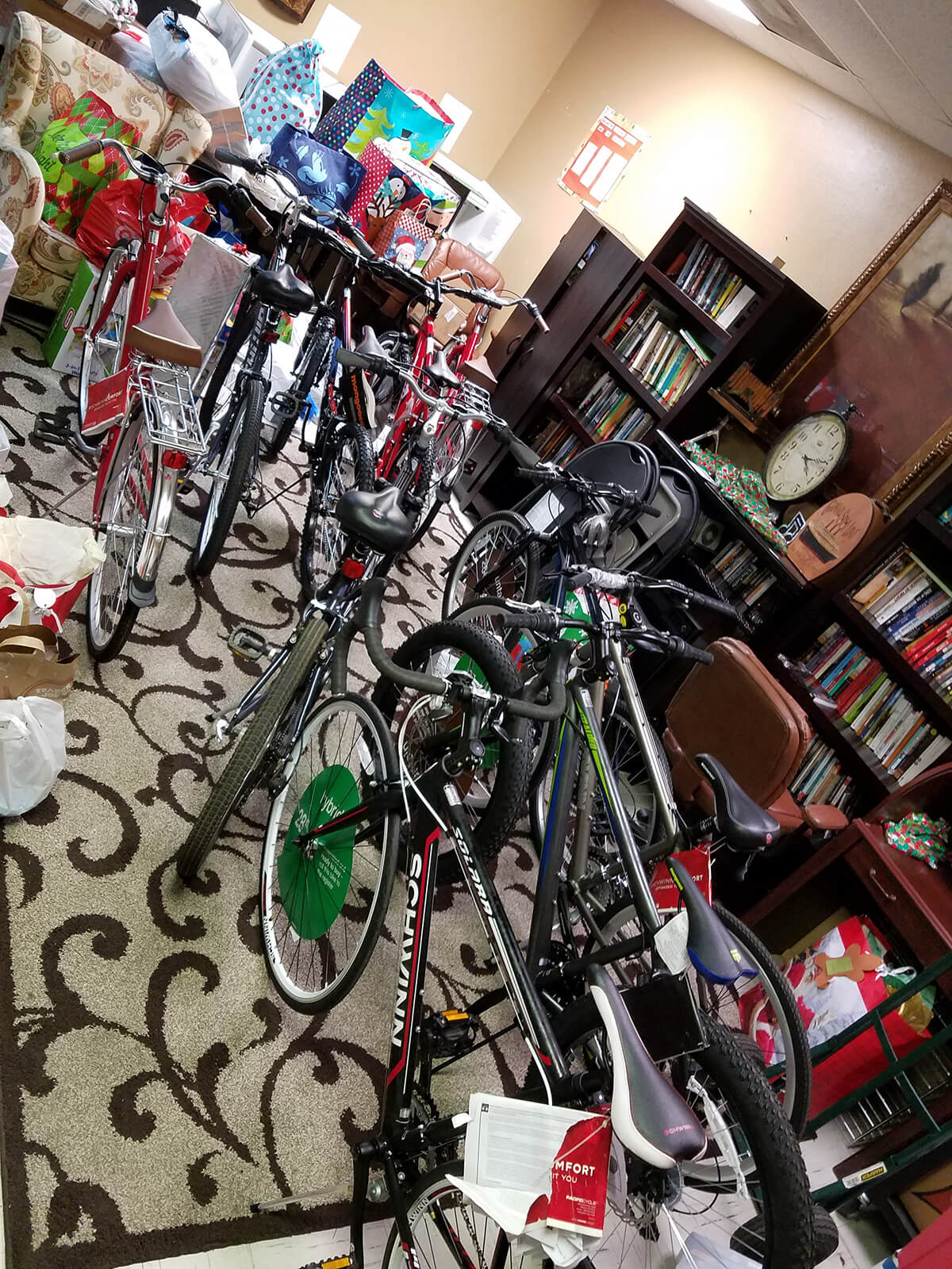 Bicycles hiden away for their Christmas morning reveal at the Arlington Life Shelter