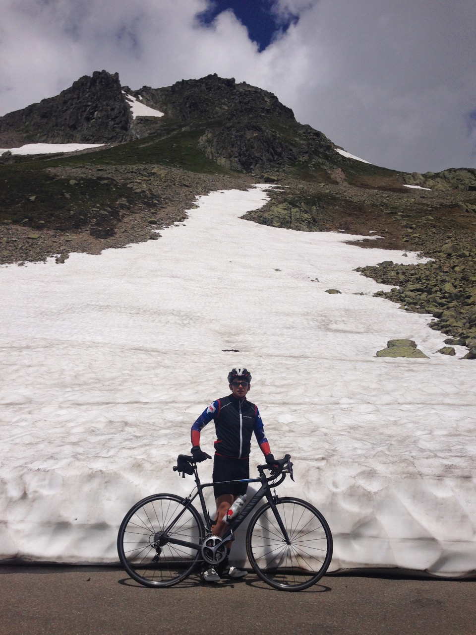 Picture of Gotthard Pass with snow in July