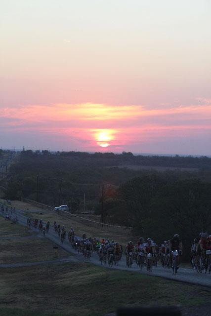 Texas cyclist enjoying the Hotter N Hell Sunrise