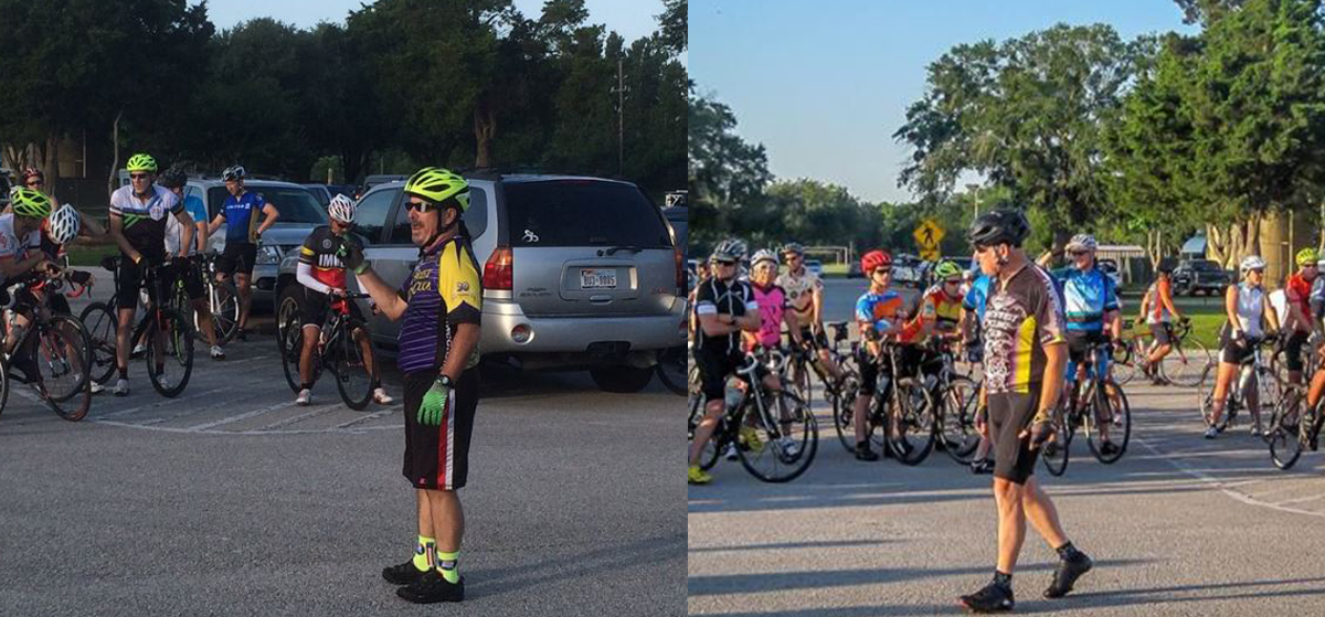 Veteran ride starters like Dave Unger, left, and Carl Grasshoff send cyclists out of Zube Park in an orderly manner.
